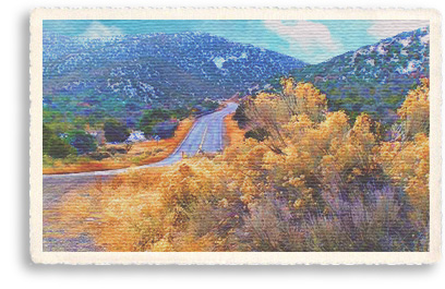 Pinon and brilliant blossoming chamisa line the Turquoise Trail as it winds through the Cerrillos Hills near Madrid, New Mexico